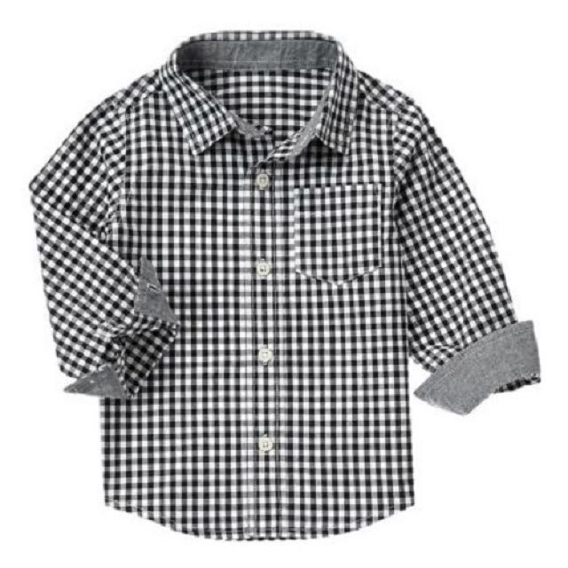 BN 12-18m, 4yr, 5yr Crazy 8 Black Gingham Shirt For Kid Boy - Pkcrazy8 Pkboy