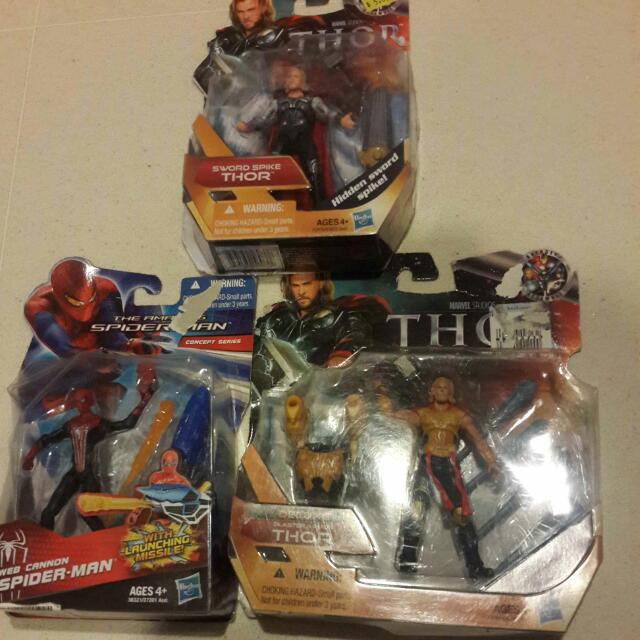 Lot Of 6 Thor Spiderman Iron Man 3.75 Inch Hasbro Marvel Items Sale ...