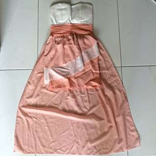 Strapless Dress with Trail