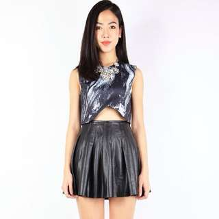 Marble Print Cropped Top