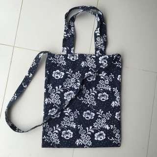 Navy Floral Tote/Sling Bag