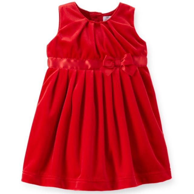 BN Size 24m Carter's Red Velour & Satin Bow Dress for Kid Girl - Pkcarters Pkgirl