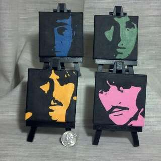 The Beatles on mini canvas (set of 4)