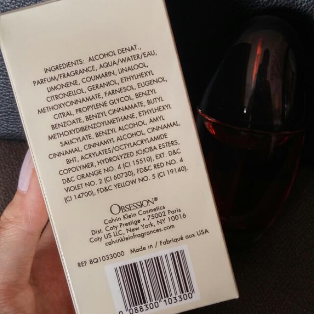 Bn Ck Obsession Eau De Parfum 50ml Health Beauty On Carousell