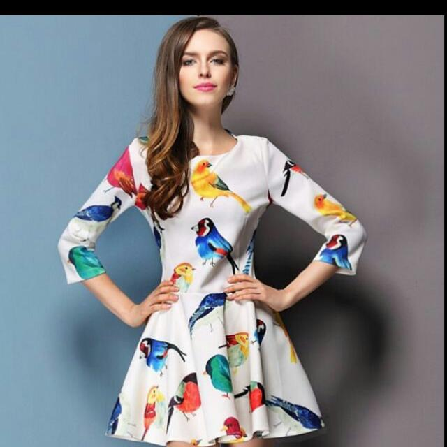 Colorful Dress With Bird Designs