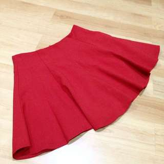 Romwe Red Flare Skirt