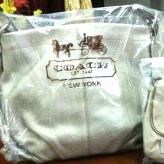 Authentic BN Silver COACH Duffle Bag
