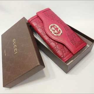 GUCCI Red Sukey Guccissima Long Wallet