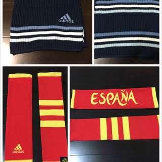 Adidas 藍色圍巾+ Adidas 袖套組合