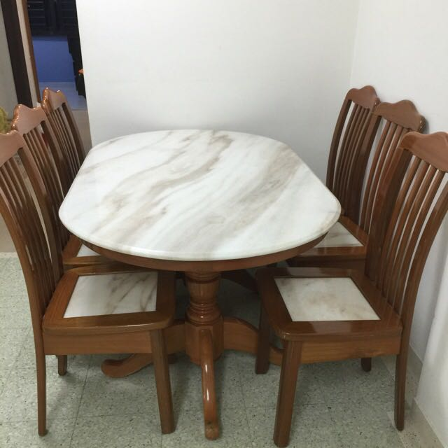 Used Marble Dining Table With Chairs Everything Else On Carousell - Used marble dining table