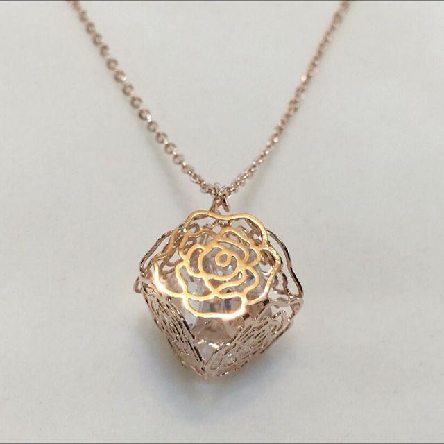 立體玫瑰花項鍊(金)