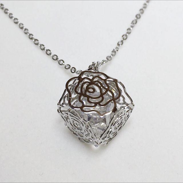 立體玫瑰花項鍊(銀)