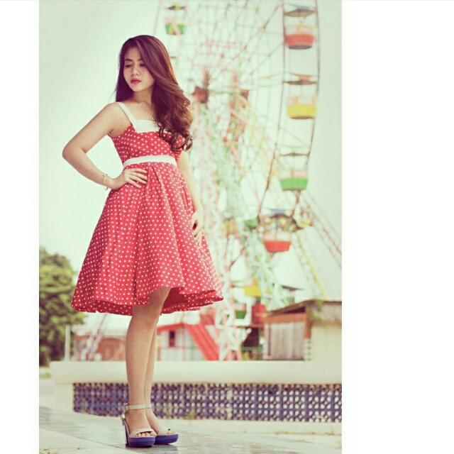 Red Polkadot Dress Vintage Retro
