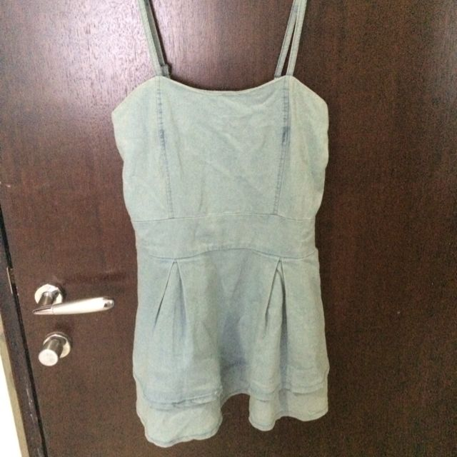 Chambray Denim Dress/Top With Shorts Set