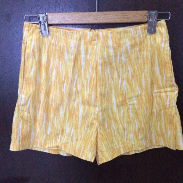 Vintage Inspired Summery Sunflower Yellow High Waist Shorts