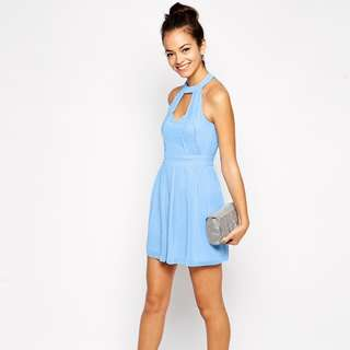 ASOS Petite Exclusive Skater Dress With Halter Neck And Lace Inserts