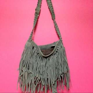 Grey Tassel Sling Bag