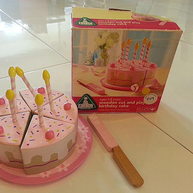 Miraculous Wooden Elc Cut And Play Birthday Cake Toy Set Babies Kids On Personalised Birthday Cards Veneteletsinfo