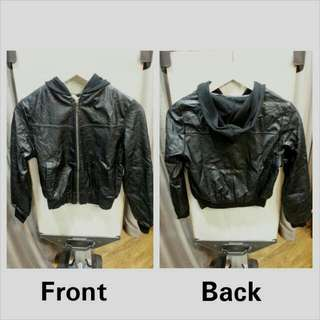 Faux Leather Hoodie Jacket
