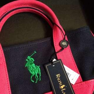 [全新]Ralph Lauren 深藍桃紅手提包