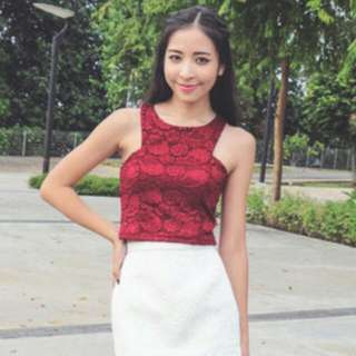 Soft Lace Cut Top (Maroon)