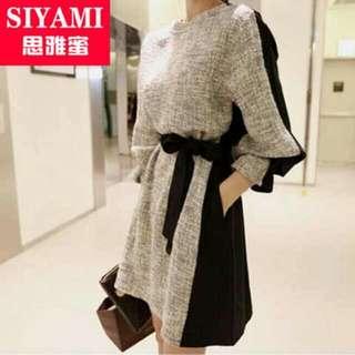 Tweed Bubble Sleeved Dress BN