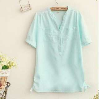 Korean Blue Linen Shirt