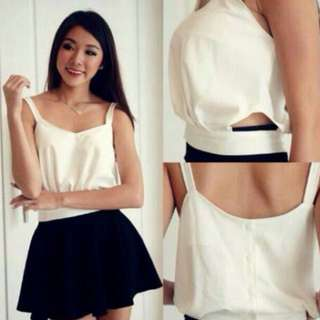 Cream Crop Top With Cutouts