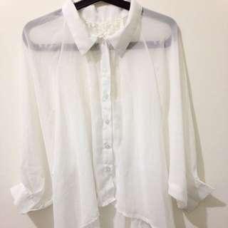 [二手]純白寬袖雪紡襯衫