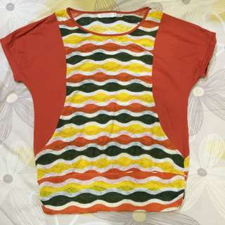 VIVI Orange Top w/ Lace Coloured Stripes
