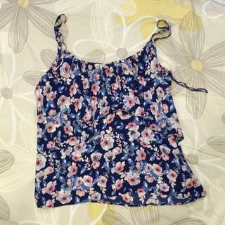Cotton On Blue Floral Top (size L)