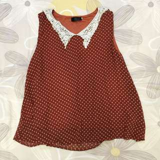 Red Polka Dots Blouse w/ Lace Collars