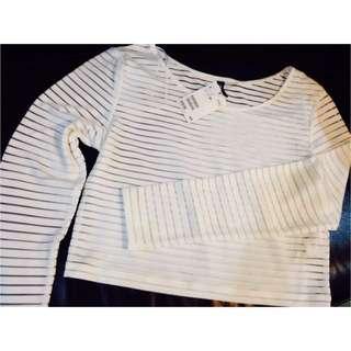 (預定)H&M 短板條紋透膚長袖上衣