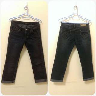 M號7分牛仔褲(背後有豹紋)