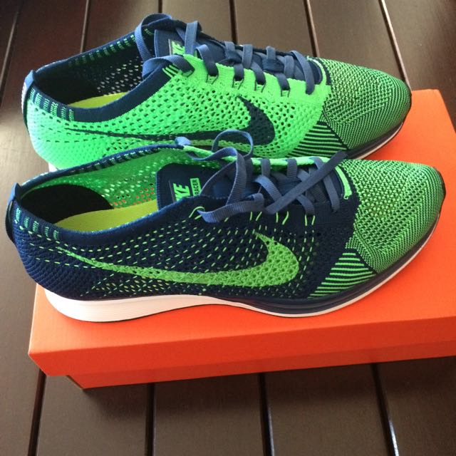 15c776f0a0c4 Nike Flyknit Racer Brave Blue Poison Green
