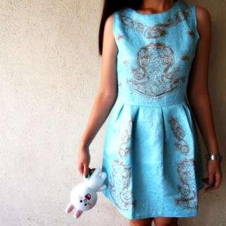 Baby Blue Sleeveless Skater Dress