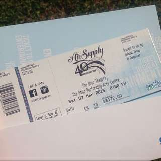 Air supply concert Ticket [ONE ONLY]