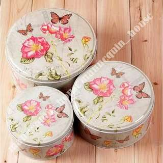 Rose Butterfly Tin Box