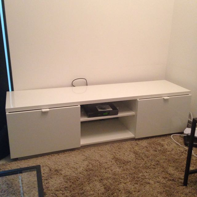 White TV Console Table With 2 Drawers