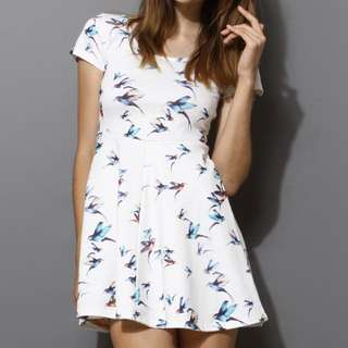 Swallow White Skater Dress