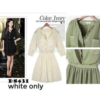 White Chiffon Dress ds431