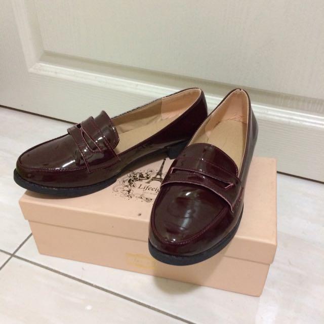 《全新》暗酒紅福樂鞋