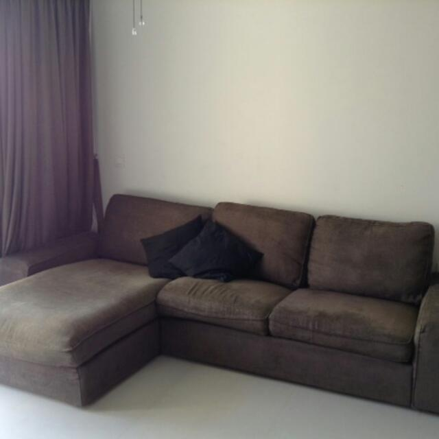 Brown Fabric L-shaped Sofa