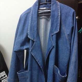 「二手市集」韓版牛仔古著oversize寬鬆大衣