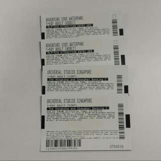 Universal Studio Tickets + Adventure Cove Waterpark Tickets