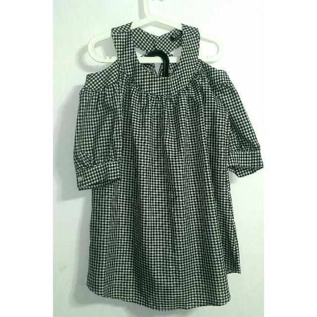 (全新)韓.黑白小格紋露肩澎袖洋裝