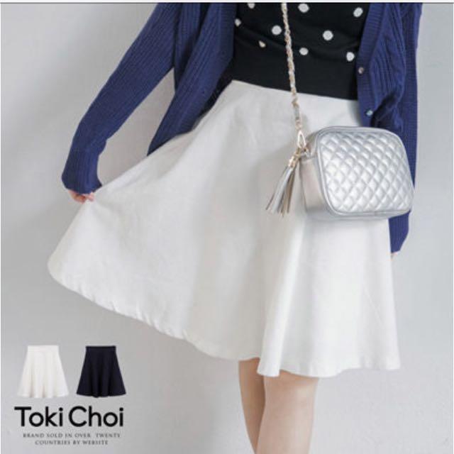 東京著衣 傘狀及膝裙 白