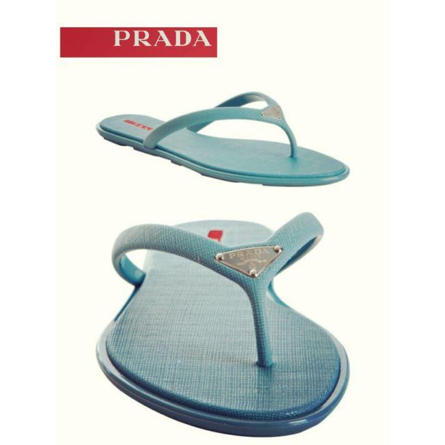 24ff2e1f9 PRADA - Teal Sport Voyage Crosshatch Rubber Flip Flops