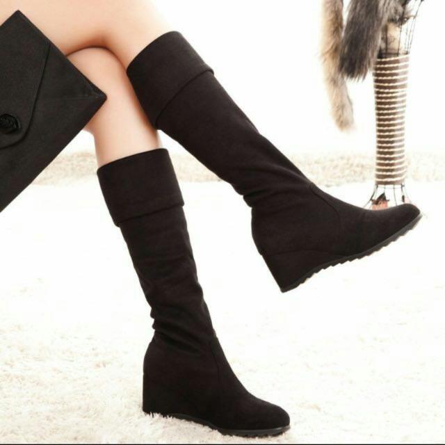 Velvet Suede Knee Length Boots
