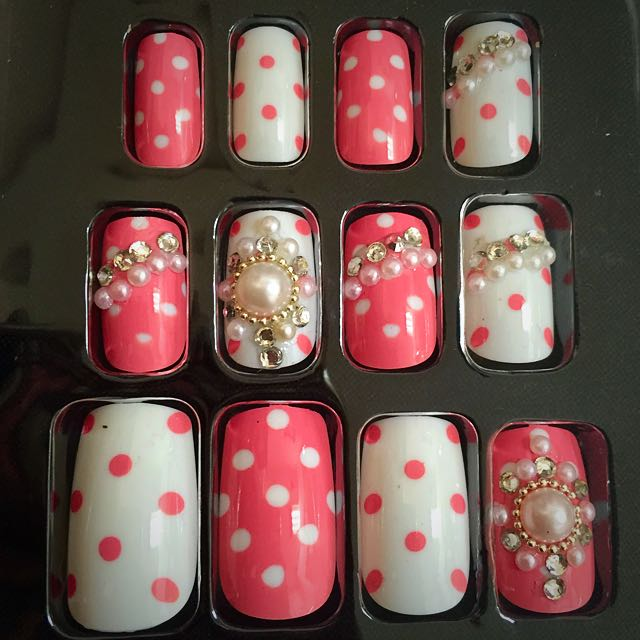 New Fake Japanese Nail Art Design Nails Reusable with double sided ...